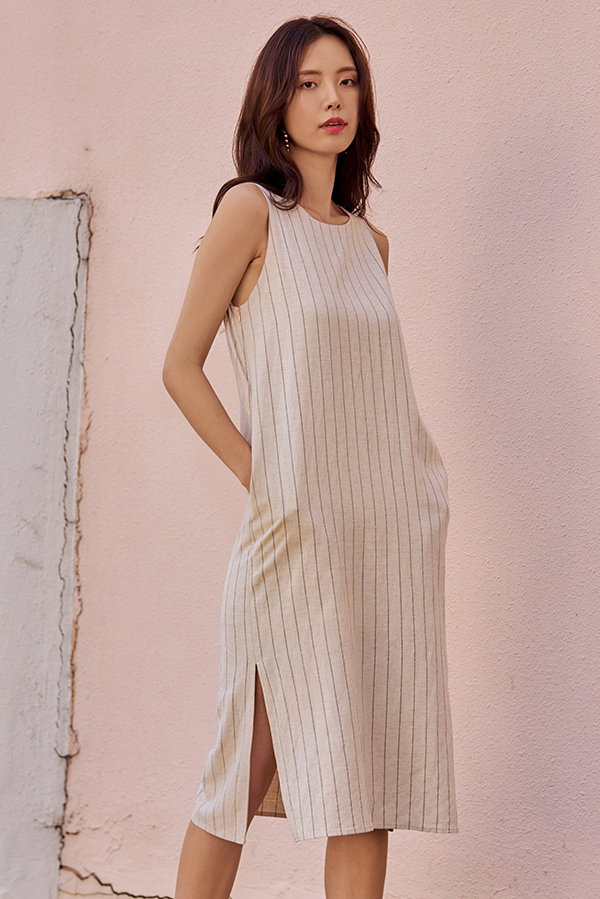 Allean Striped Two Way Linen Midi Dress