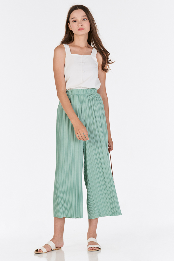 Elenca Pleated Pants in Jade Green