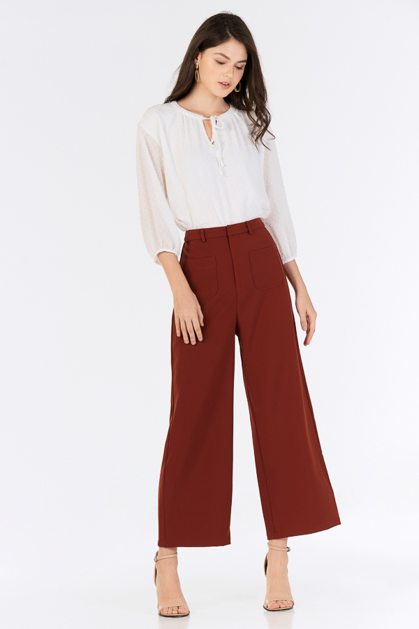 Raleena Pocket Pants in Rust