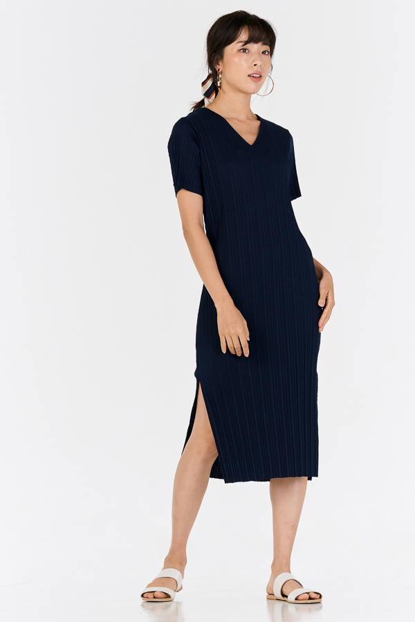 *Backorder* Eleanor Pleated Dress in Navy