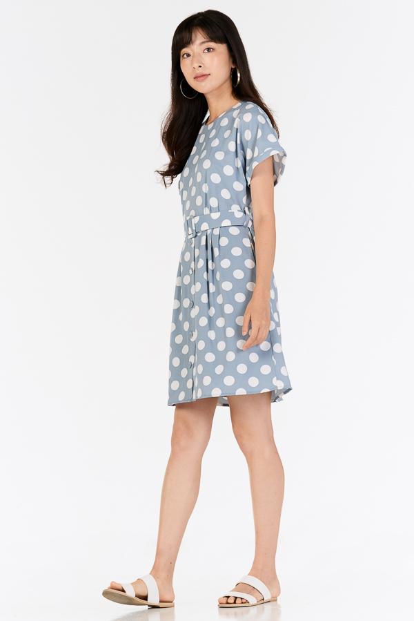 *Restock* Ritta Dotted Dress in Powder Blue