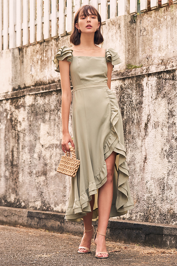 Maisha Ruffles Midi Dress in Sage Green