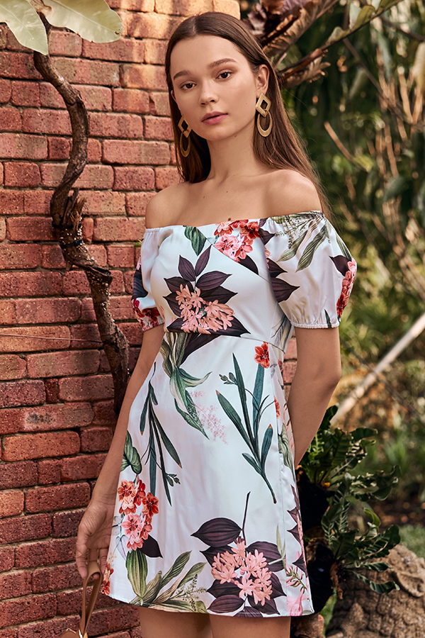 Florina Floral Printed Off-Shoulder Dress in Powder Blue