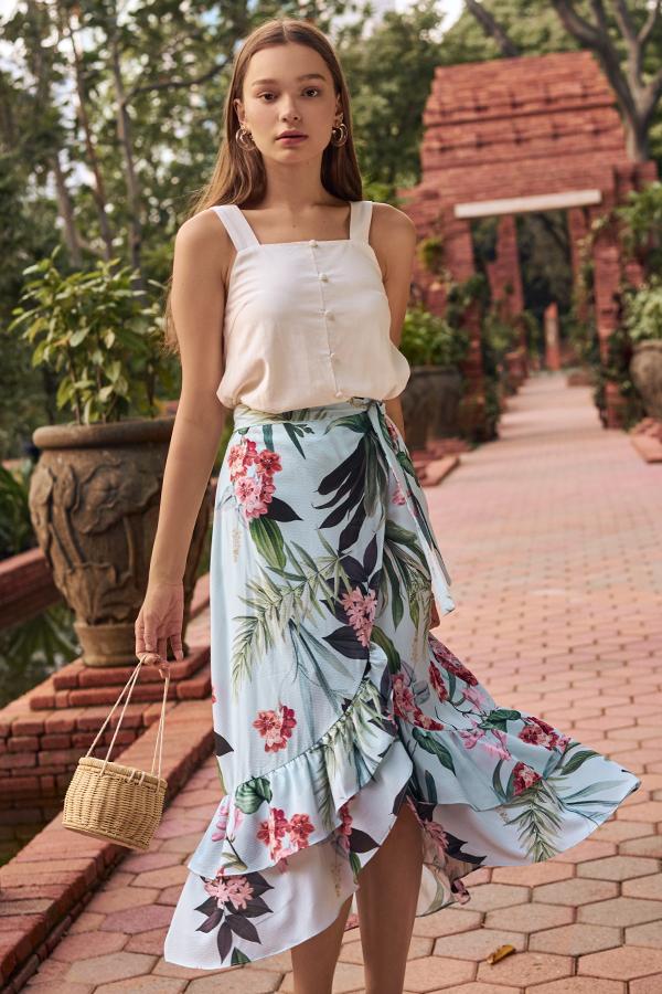 Florina Floral Printed Ruffled Midi Skirt in Powder Blue