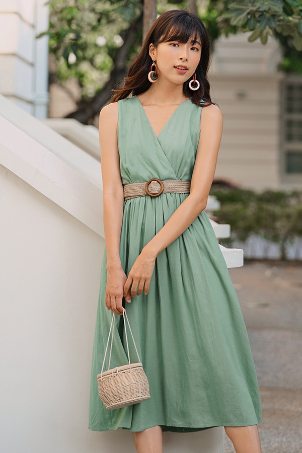Herrisa Linen Dress with Belt in Sage Green