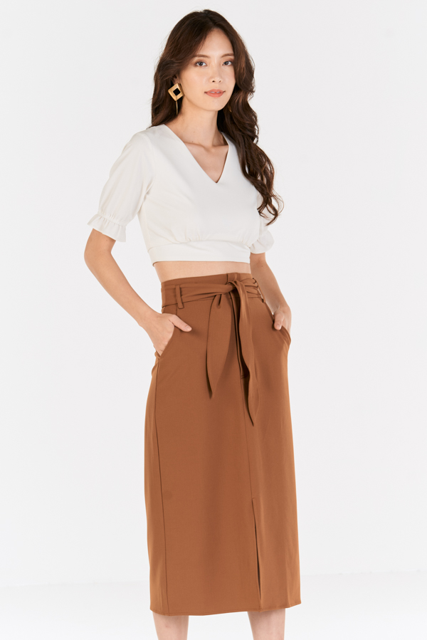 *Backorder* Scarlett Midi Skirt in Tan