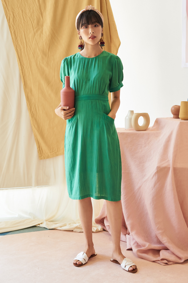 Cossila Linen Dress in Emerald Green