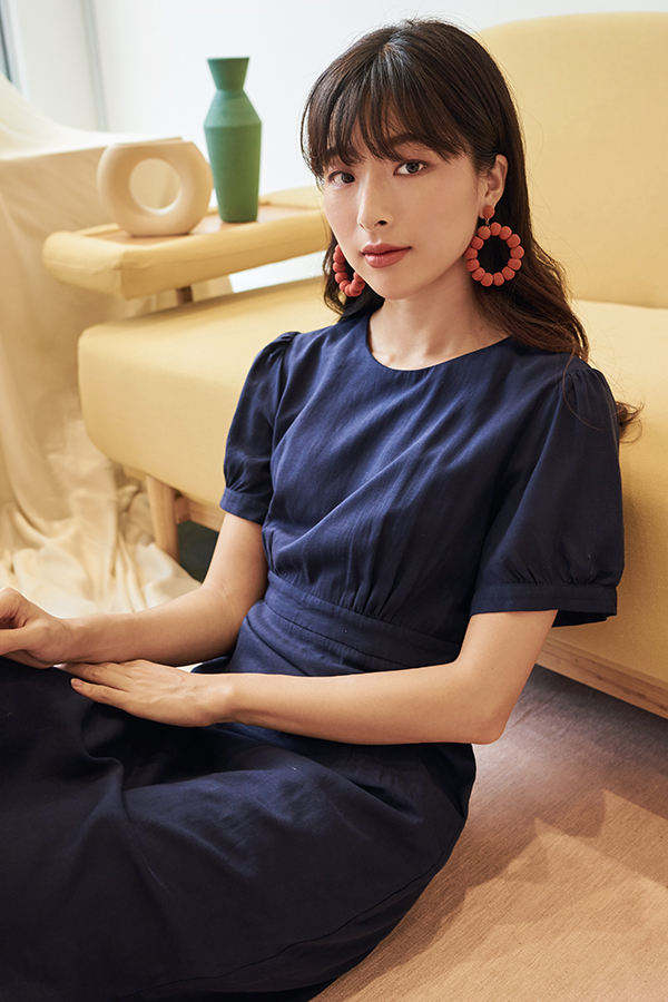 Cossila Linen Dress in Navy