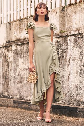 Maisha Ruffles Midi Dress in Sage Green