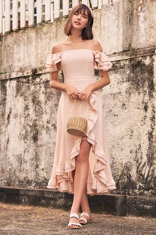 Maisha Ruffles Midi Dress in Light Pink