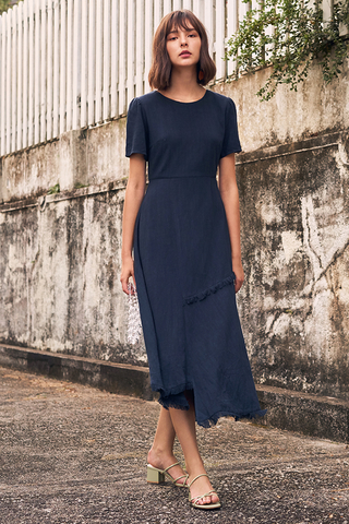 Genniva Frayed Hems Midi Dress
