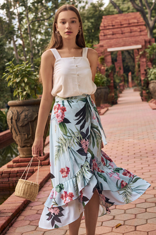 Florina Floral Printed Ruffled Midi Skirt in Powder Blue