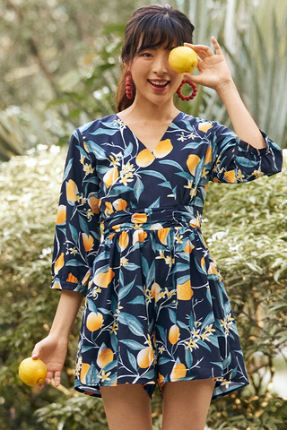 Lemmie Sleeved Romper in Dark Navy