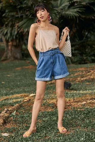 Jeane Belted Denim Shorts