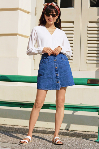 Reisa Denim Skirt in Dark Wash