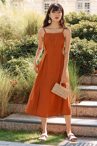 *Restock* Nerrie Buttoned Midi Dress in Amber Orange
