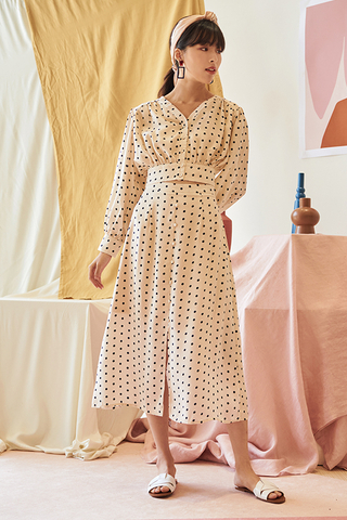 *Restock* Ennla Dotted Midi Skirt in Cream