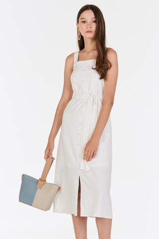 Darlyn Buttoned Dress in White