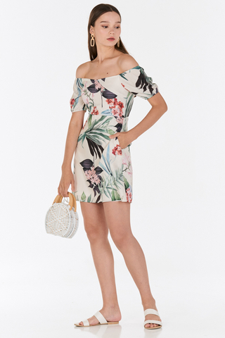 Florina Floral Printed Off-Shoulder Dress in Cream