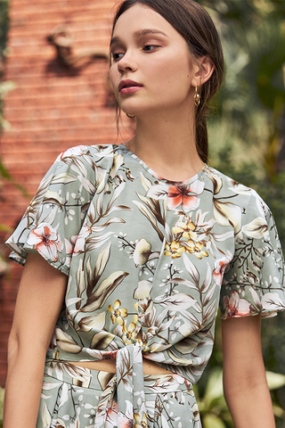 Seraphina Floral Printed Tie Front Top