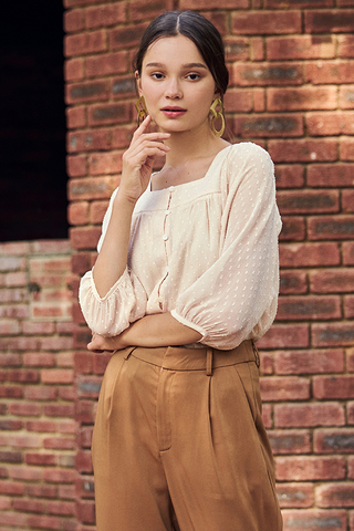 Alouette Dotted Blouse in Cream