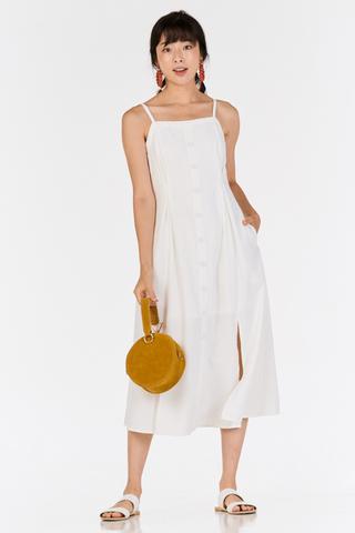 *Restock* Nerrie Buttoned Midi Dress in White