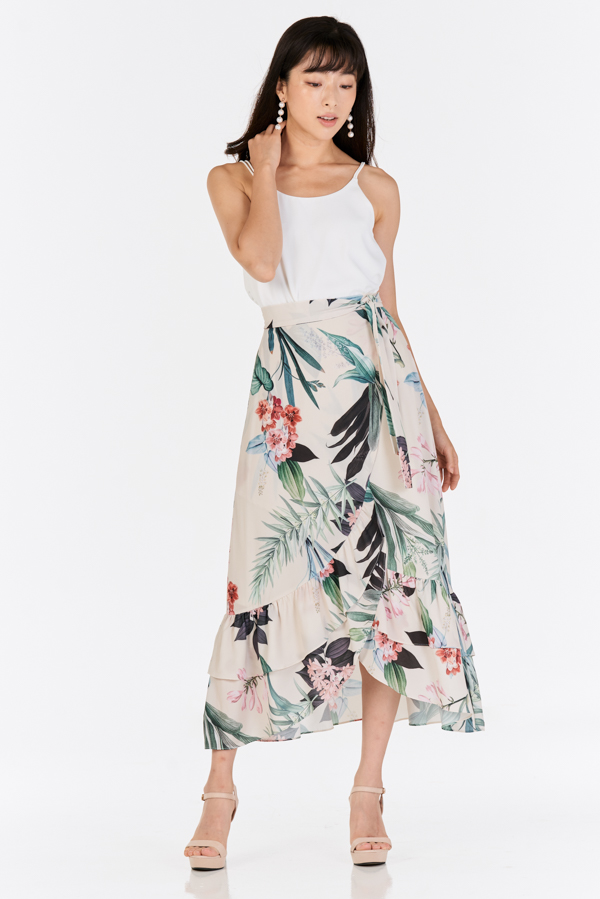 Florina Floral Printed Ruffled Midi Skirt in Cream