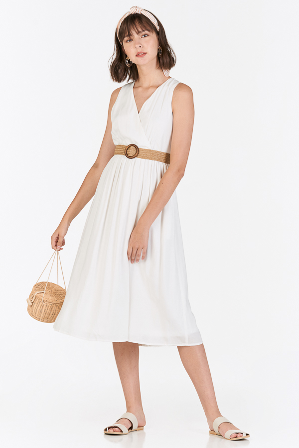 Herrisa Linen Dress with Belt in White
