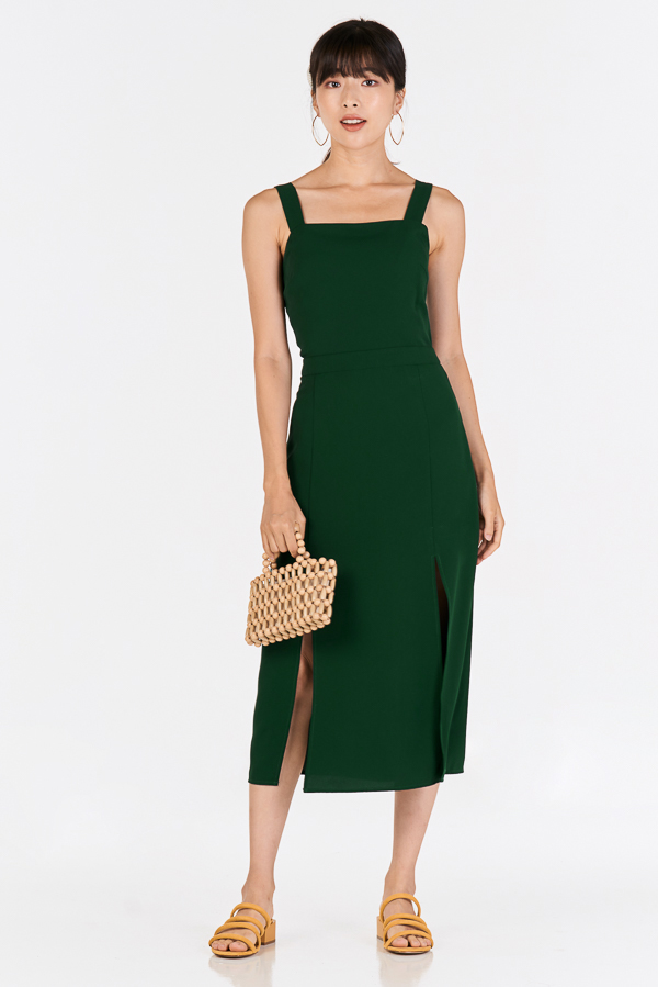 Jemina Midi Dress in Forest