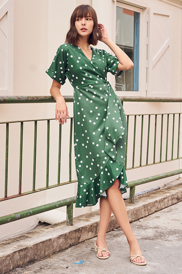 Jayna Polka Dotted Midi Dress in Green