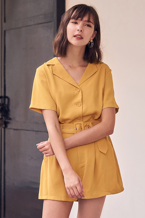 Della Shorts in Mustard