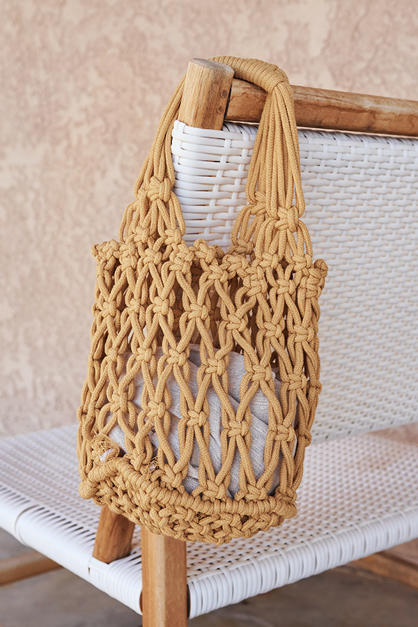 Hali Weaved Knitted Bag in Mustard