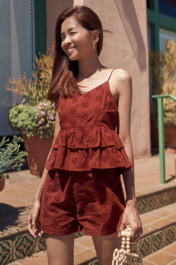 Clarita Eyelet Shorts in Rust