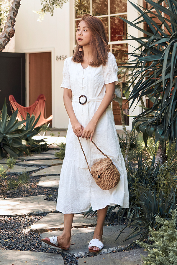 Fayette Eyelet Belted Midi Dress