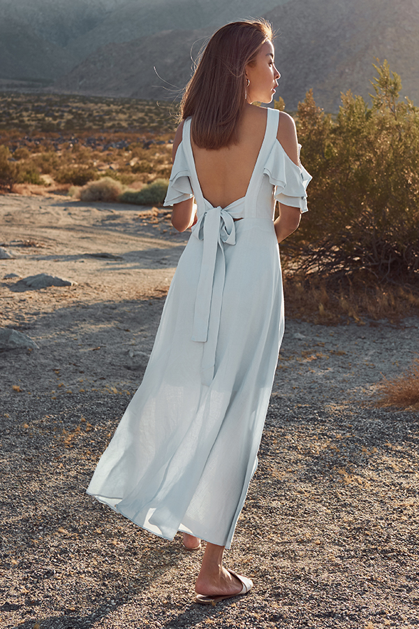 Calabasas Tie Back Maxi Dress in Sky Blue