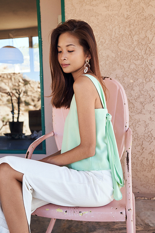 Montana Knotted Back Top in Apple Green