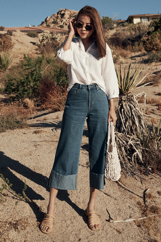 *Restock*  Glendale Denim Culottes in Mid Wash