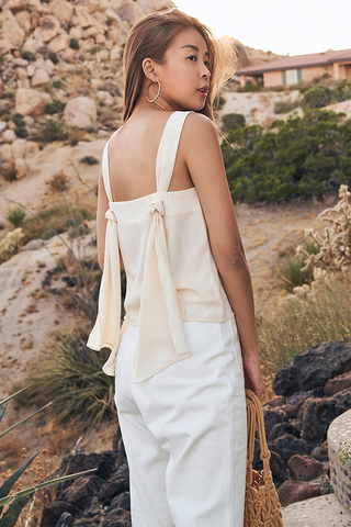 Montana Knotted Back Top in Ivory