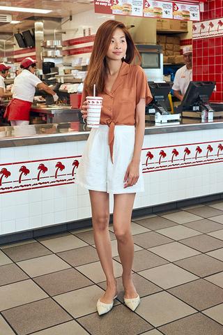 Clarita Eyelet Shorts in White
