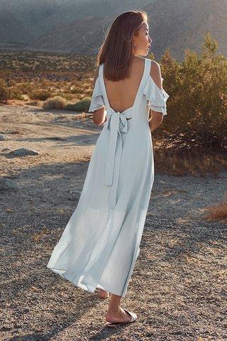 Calabasas Tie Back Maxi Dress in Sky Blue