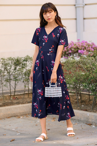 Calsine Sleeved Floral Printed Midi Dress