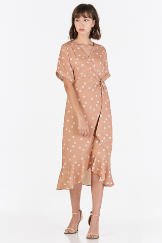 Jayna Polka Dotted Midi Dress in Nude Pink