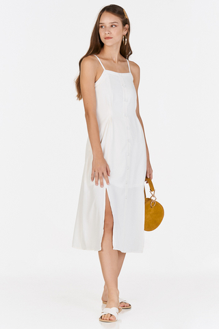 *Restock* Nerrie Buttoned Midi Dress in White