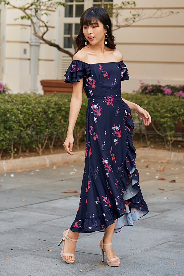 Calsine Ruffles Floral Printed Midi Dress