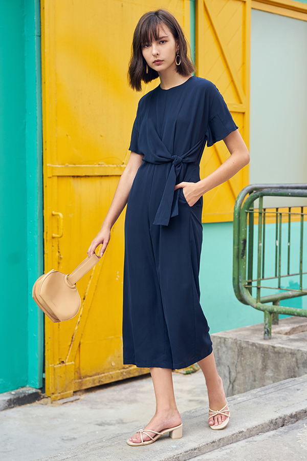 Caraline Side Tie Jumpsuit in Navy