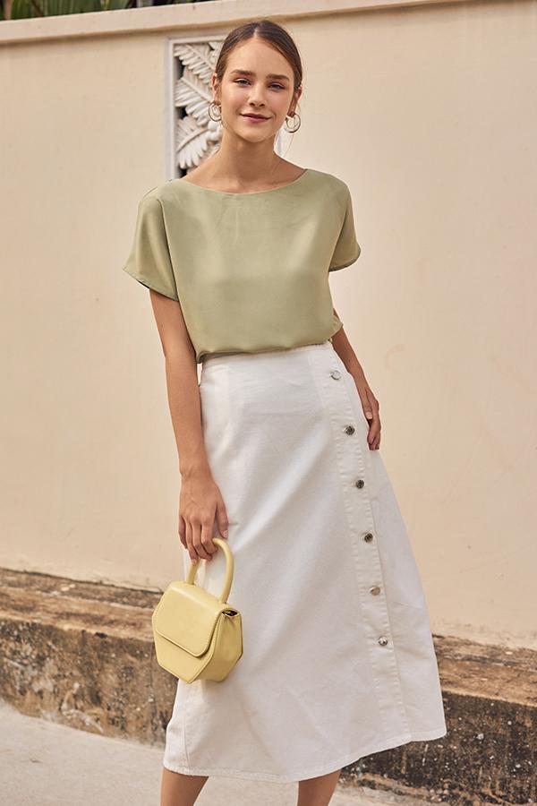Baylee Denim Midi Skirt in White