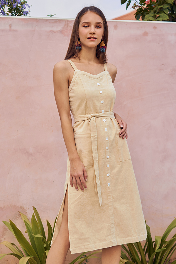 Nola Corduroy Midi Dress in Cream