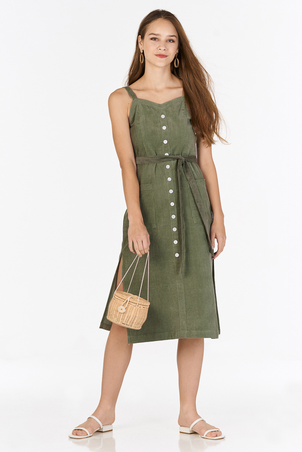 Nola Corduroy Midi Dress in Olive