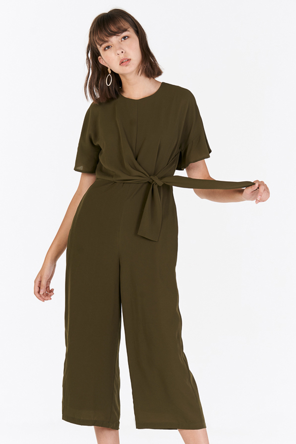 Caraline Side Tie Jumpsuit in Olive
