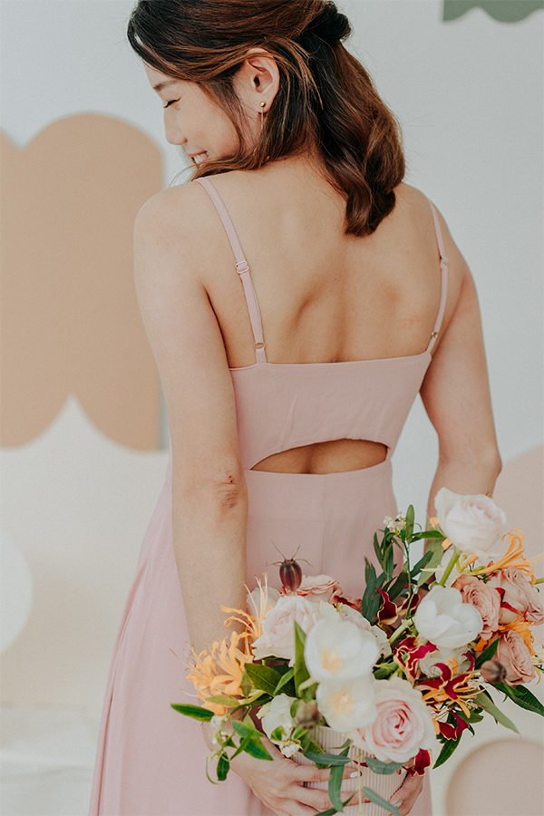 Cariella Slit Back Dress in Pink